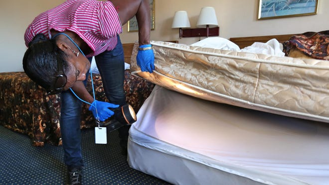 Karla Johnson from the Marion County Health Department checked a bed at Country Hearth Inn & Suites, 8850 E. 21st St., on Wednesday, Sept. 16, 2015. Officials from the Indianapolis Department of Code Enforcement and other agencies conducted compliance sweeps of eight hotels and motels Wednesday and Thursday.