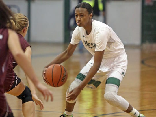 Woodlands girls basketball player Teisha Hyman was only 3 points away from scoring her 2,000th career point when she injured her knee during game action against Valhalla at Woodlands High School on Dec. 11, 2017.