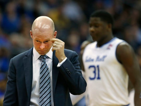 Seton Hall Pirates head coach Kevin Willard reacts during a second half  timeout against Marquette Golden Eagles