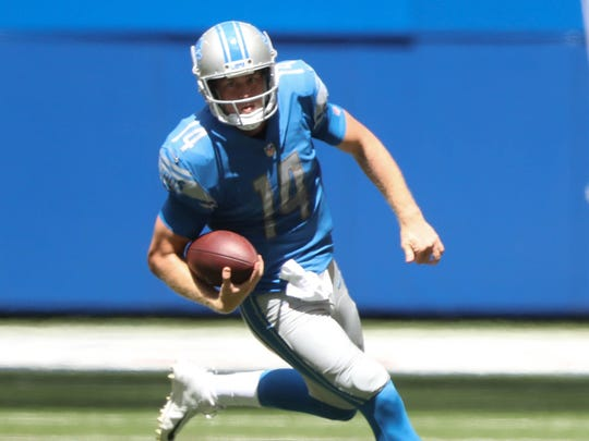 Jake Rudock runs for a first down in the second quarter of the Lions' 24-10 exhibition win over the Colts on Aug. 13, 2017 in Indianapolis.