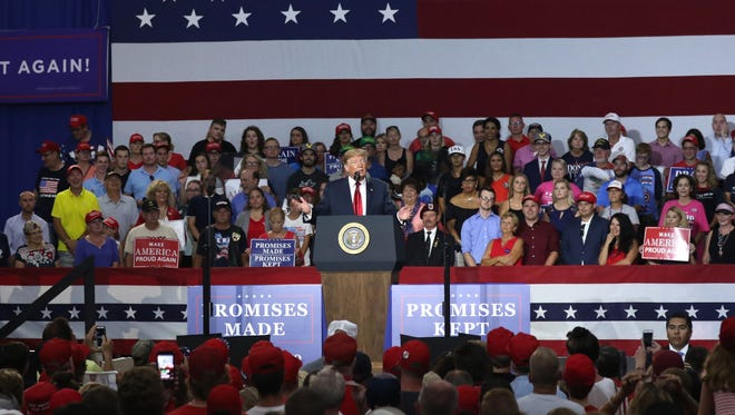 President Donald Trump speaks during a rally for Troy Balderson at Olentangy Orange High School in Lewis Center. The spcecial election has become a near referendum on the president.