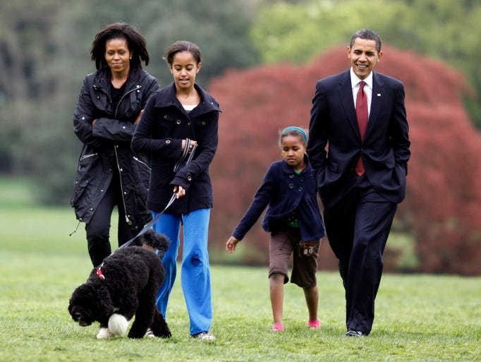 Michelle Obama Walking Dog