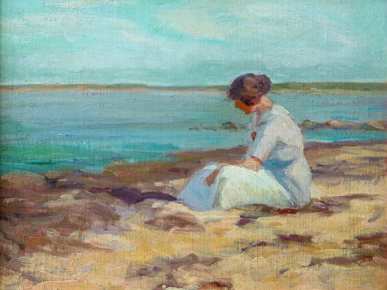 "Ruth Osgood's ""Contemplation"" is an oil on artist board,"
