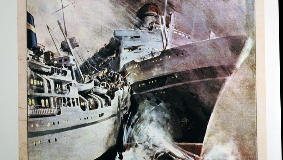An artist's rendering of the collision of the SS Andrea