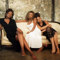 Brownstone singers from left:  Kina (Kina Cosper),  Maxee (Charmayne Maxwell) and Nicci (Nichole Gilbert) in 1997.