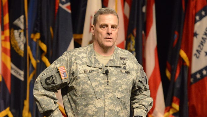 Gen. Mark Milley speaks to ROTC and U.S. Military Academy cadets March 31 at a seminar at Fort Leavenworth, Kansas.