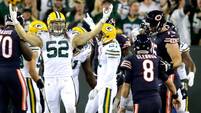Green Bay Packers outside linebacker Clay Matthews (52) celebrates after his sack of Chicago Bears quarterback Mike Glennon (8) which led to a fumble recovery for the Green Bay Packers Thursday, Sept. 28, 2017, at Lambeau Field in Green Bay, Wis. The sack marked a franchise record for Matthews.