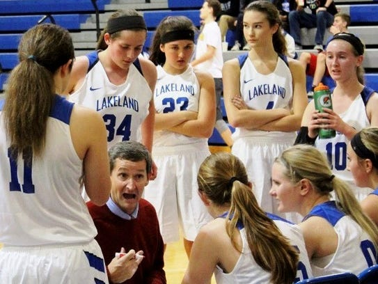 Lakeland coach Mike Head gives his team instructions