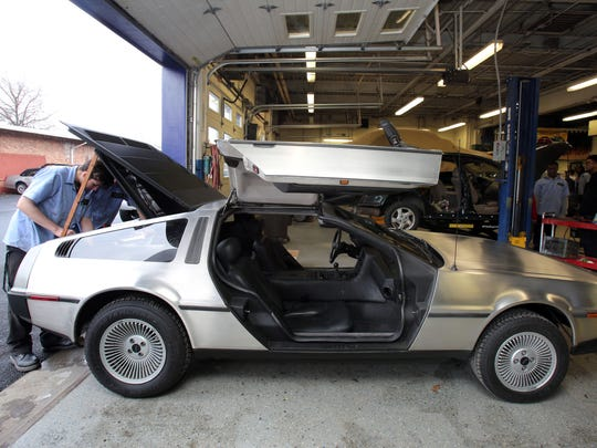 Students Louis Brigliadoro and Peter Tetukevich, both 17 and from Sloatsburg, work on a 1981 DeLorean at the BOCES Automotive TechnologyÊprogram in West Nyack Dec. 18, 2017. The car was donated by Richard Sumner of Pomona.