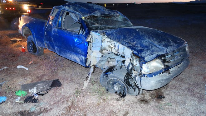 Hardin Lee Aigner, 19, of Silver Springs, passenger Lee Owen Polson, 20, of Fernley and passenger Anthony Fredrick-Wayne Smith, 19, of Silver Springs were traveling on U.S. 50 toward Stagecoach when Aigner, driving this 1995 Ford Ranger, lost control after the truck's left rear tire lost its tread.