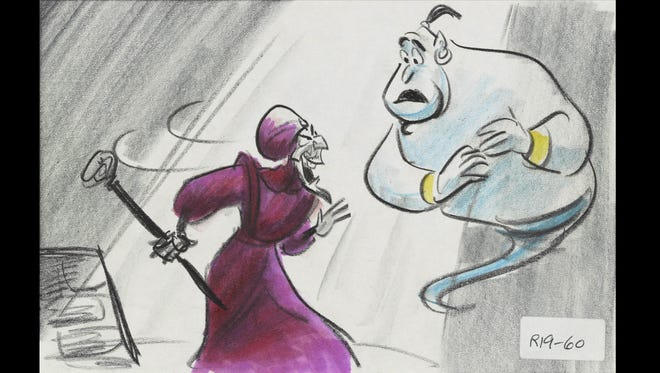 The 'Aladdin' storyboard for missing song 'My Finest Hour' features Jafar and Genie.