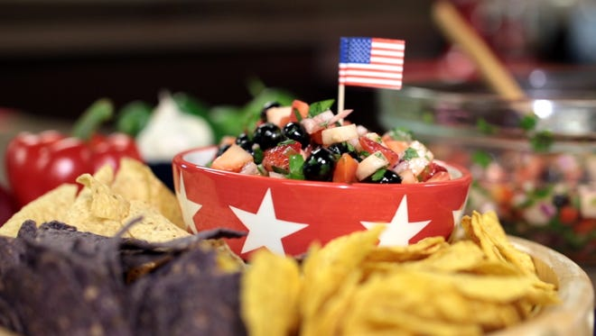 Red white and blue salsa is a winning recipe all summer.