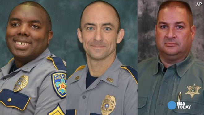 From left: Montrell Jackson, Matthew Gerald and Brad Garafola, the three officers killed in Baton Rouge, La. on Sunday.