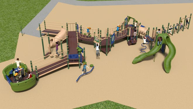 A rendering of the Carl Traeger inclusive playground, which will be installed in late August.