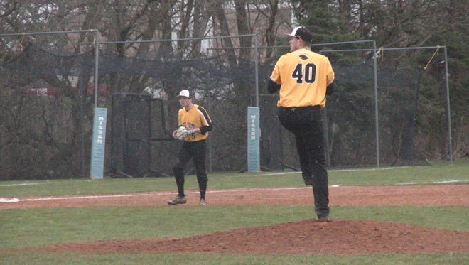Red Lion's Tyler Burchett winds up to pitch against Dallastown on Monday. He struck out 10 batters in a 2-1 win.