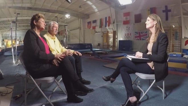 "Savannah Guthrie, right, interviews former USA Gymnastics national team coordinators Martha and Bela Karolyi for a Sunday, April 22, episode of Dateline titled ""Silent No More."""