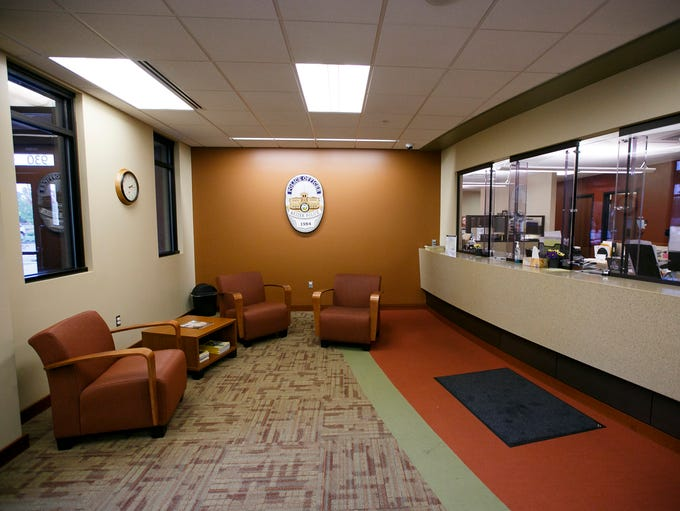 The lobby of the Keizer Police Department was designed