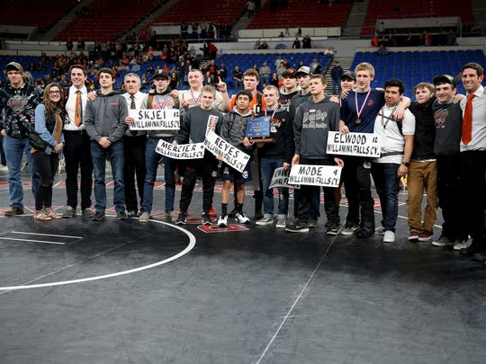 Willamina/Falls City earns first place in the OSAA Class 3A Wrestling State Championships at Veterans Memorial Coliseum in Portland on Saturday, Feb. 17, 2018.