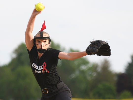 Essex's Logan Pollard (19) delivers a pitch during a high school softball game on May 23.