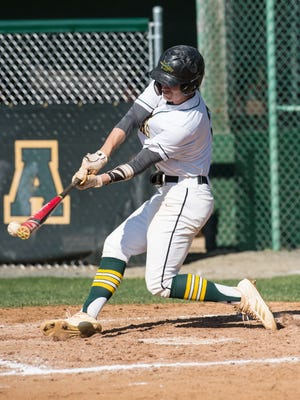 Mardela's Dylan Smith (2) at bat during a game against Wi-Hi on Thursday, April 26, 2018.