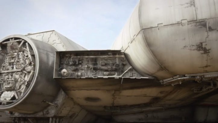 J.J. Abrams' production company Bad Robot unveiled this look at the Millennium Falcon from Star Wars Episode VII, and there's a little surprise built in that will have Batman fans cheering.