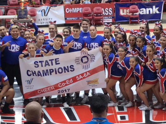 The Las Cruces High School cheer team won the Class 5A/6A co-ed state championship during the NMAA State Spirit Championships Saturday at The Pit in Albuquerque.