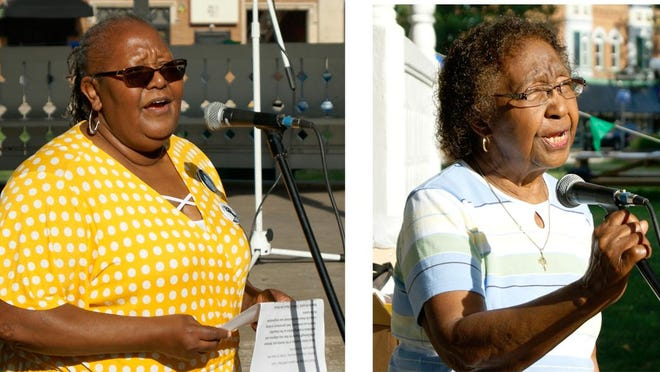 Belinda Carr, left, and Essie Rutledge spoke about their experiences as Black women in the community during a Black Lives Matter Speak Out held Thursday, July 16 in Macomb's Chandler Park. Both Carr and Rutledge have held leadership positions at Western Illinois University and in the community.