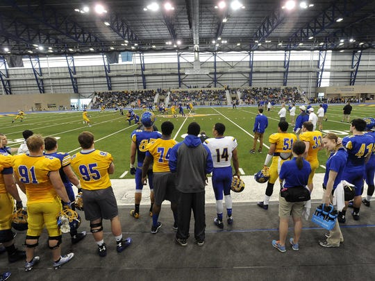 The SDSU spring football game took place at the Sanford Jackrabbit Athletic Complex in Brookings, S.D., Saturday, April 25, 2015.