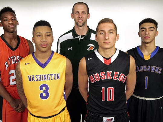 The Journal Sentinel's 2015-'16 all-area boys basketball team includes (from left to right): Terrence Lewis of Riverside, Te'Jon Lucas of Washington, coach of the year Derek Berger of Dominican, Caleb Wagner of Muskego and Juwan McCloud of Germantown. Tyler Herro of Whitnall is not pictured.