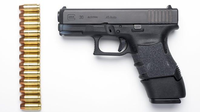 A semi-automatic pistol