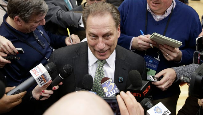 Michigan State basketball coach Tom Izzo responds to questions from the media Sunday, March 29, 2015, in Syracuse, N.Y.