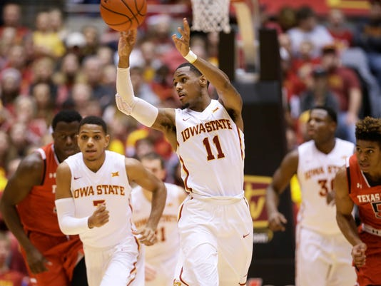 Iowa State guard Monte Morris (11) passes the ball during the first half of an NCAA college basketball game against Texas Tech, Wednesday, Jan. 6, 2016, in Ames, Iowa. (AP Photo/Charlie Neibergall)