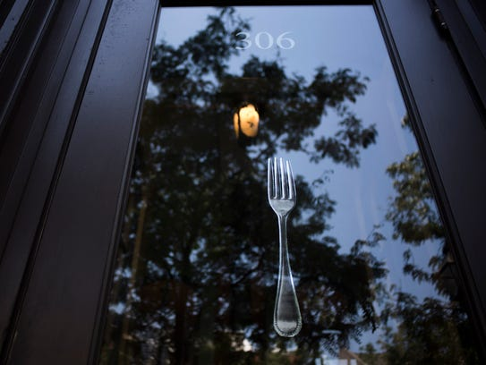 A whimsical touch in the window of Fork.