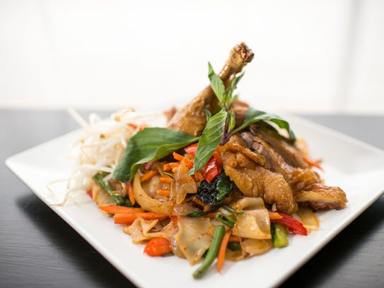 A Pad Kee Mao duck dish is an alternative to the traditional Pad Thai at Pinto Thong Thai Cuisine in Deptford.