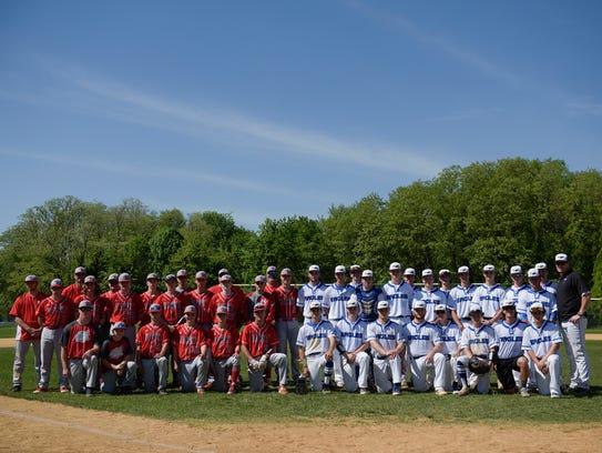 The Haddon Township and Paul VI baseball teams pose