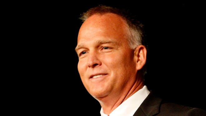 Georgia coach Mark Richt speaks to the media at the Southeastern Conference NCAA college football media days, Thursday, July 17, 2014, in Hoover, Ala. (AP Photo/Butch Dill)