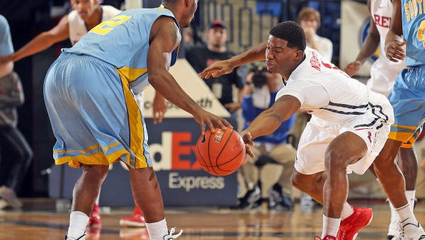Ole Miss guard Martavious Newby goes for one of his three steals during a 69-38 win against Southern on Thursday.