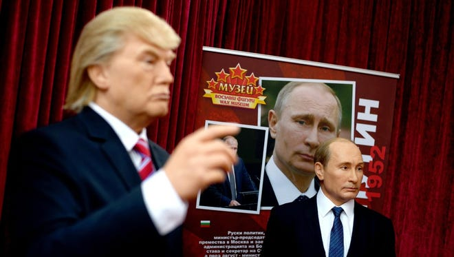 Wax figures of President Trump and Vladimir Putin, Sofia,Bulgaria, April 7, 2017.
