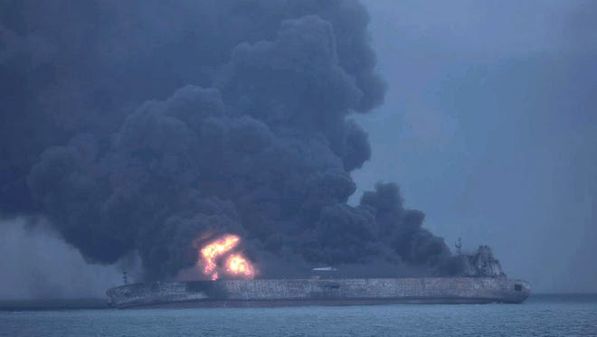 Panama-registered tanker 'Sanchi' is seen on fire after a collision with Hong Kong-registered freighter 'CF Crystal,' off China's eastern coast, on Jan. 7.