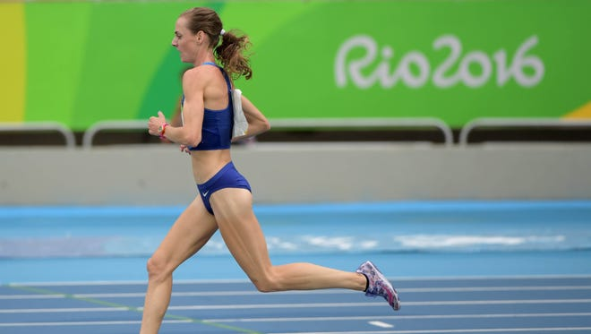 Molly Huddle (USA) competes in the women's 10,000 meter event at Estadio Olimpico Joao Havelange in the Rio 2016 Summer Olympic Games.