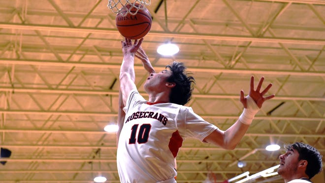 Rosecrans' Keagan McLaughlin goes up for a shot in the lane during the Bishops' 59-45 win against Claymont on Friday night. McLaughlin, a senior, posted game highs of 17 points and 13 rebounds.