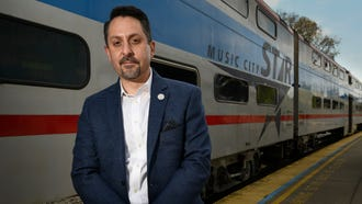 Metro councilman Jeff Syracuse stands outside the Music City Star commuter train at the Donelson Station Thursday, April 19, 2018, in Nashville, Tenn.