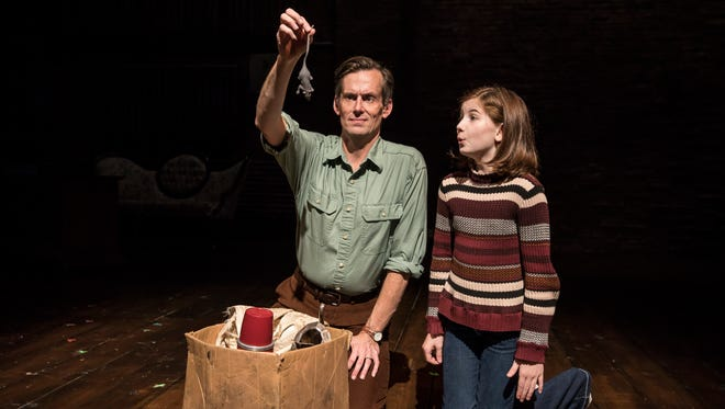 """Rob Lindley and Stella Rose Hoyt perform in the musical """"Fun Home"""" at Victory Gardens Theater."""