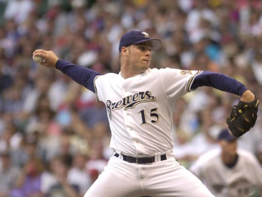Ben Sheets pitches for the Brewers at Miller Park on