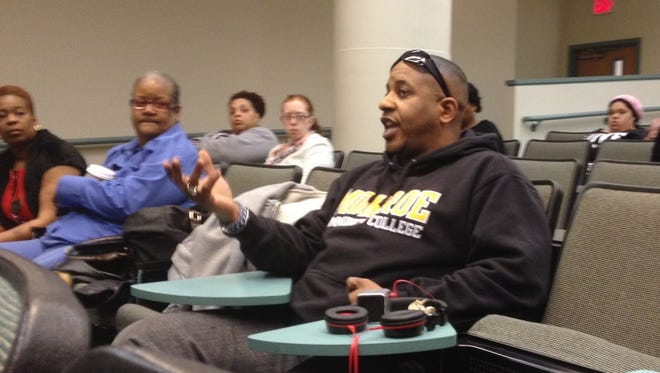 Monroe Community College student Kevin Bell of Rochester takes part in a discussion on the media and racial attitudes during a Unite Rochester Listening Tour stop at MCC's Damon Campus on Wednesday, April 9.
