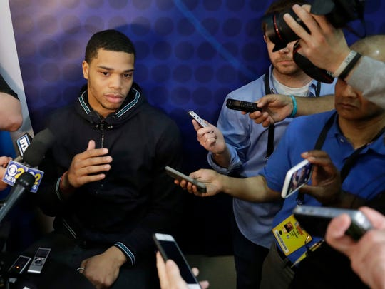 Miles Bridges, from Michigan State, talks to reporters during the NBA draft basketball combine Thursday, May 17, 2018, in Chicago.