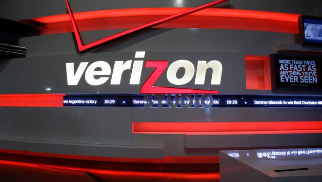 This April 7, 2013 photo shows the Verizon Studio booth at MetLife Stadium, in East Rutherford, N.J.