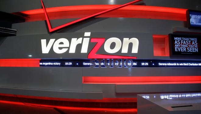 This April 7, 2013, file photo, shows the Verizon studio booth at MetLife Stadium, in East Rutherford, N.J.