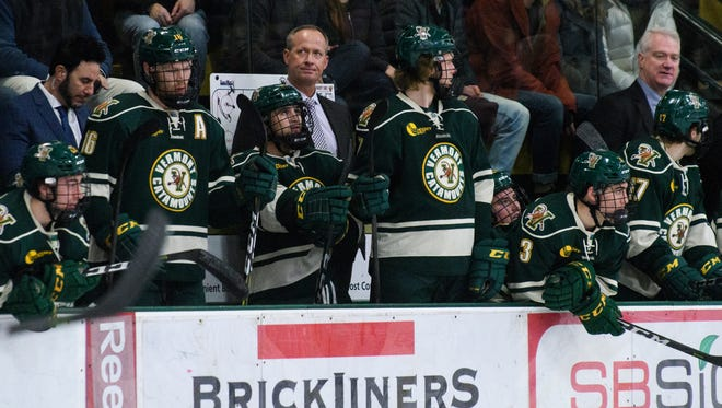 Vermont head coach Kevin Sneddon reacts to a goal during the men's hockey game between the St. Lawrence Saints and the Vermont Catamounts at Gutterson Fieldhouse on Friday night December 29, 2017 in Burlington, Vermont.