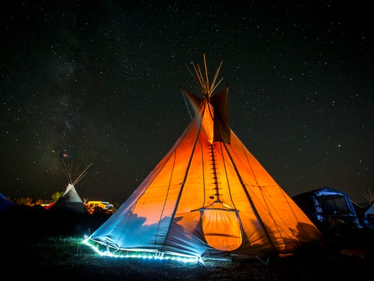International Indigenous Youth Council of Standing Rock and Oceti Sakowin Youth encampment teepee at the Oceti Sakowin Camp near Standing Rock reservation Saturday Oct. 1, 2016, near Cannon Ball, N.D. The Dakota Access pipeline passes less than two miles from the camp and will go under Lake Oahe and the Missouri River.